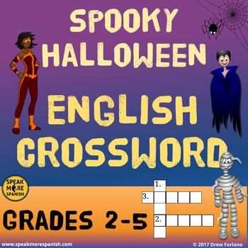 FREE ENGLISH Halloween Crossword Puzzle. ELEMENTARY VERSION!