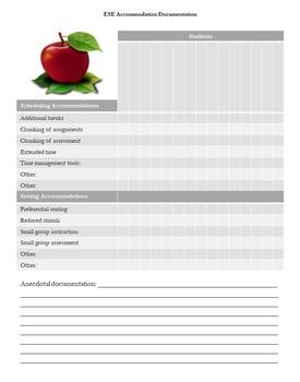 FREE ESE Accommodations Documentation Charts!  EDITABLE!
