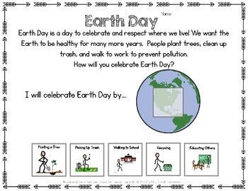 FREE Earth Day Adapted Worksheet