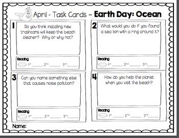 Earth Day Fluency Task Cards