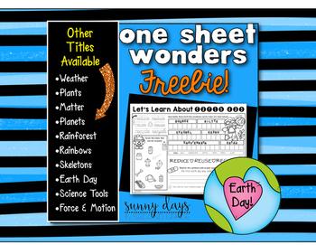 FREE Earth Day One Sheet Wonder
