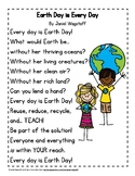 FREE Earth Day Poem in Color and Black & White K-3