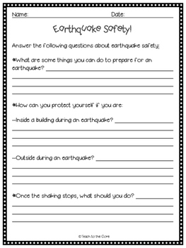 FREE! Earthquake Safety Poster and Activities!