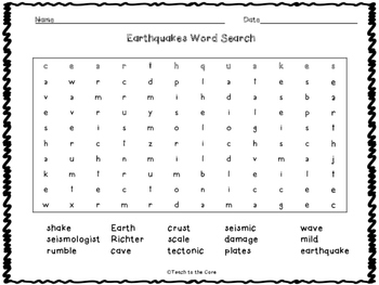 FREE Earthquakes Vocabulary Cards and Word Search -K-2nd