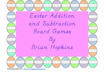 FREE Easter Addition and Subtraction Board Games