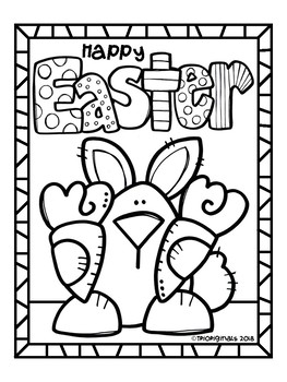 FREE Easter Bunny COLORING PAGE (P4 Clips Trioriginals)