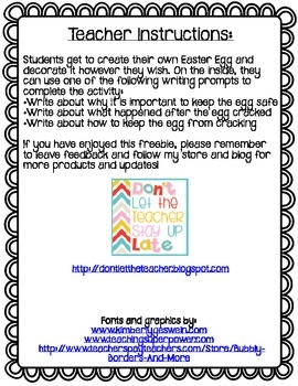 FREE Easter Don't  Crack the Egg Writing Craftivity