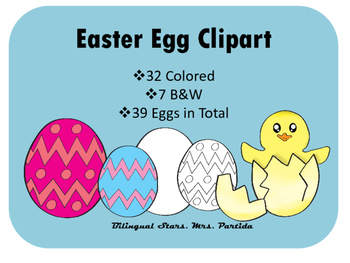FREE Easter Eggs Spring Clipart Bilingual Stars Mrs. Parti