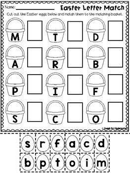 FREE Easter Letter Recognition Matching