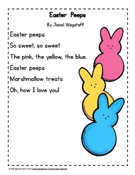 FREE Easter Peeps Poem, Color and Black & White K-3