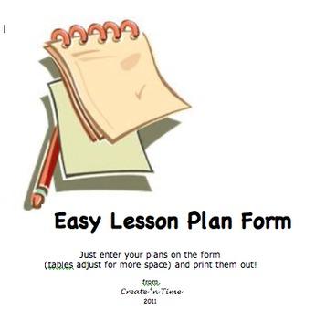 FREE Easy Lesson Plan Form