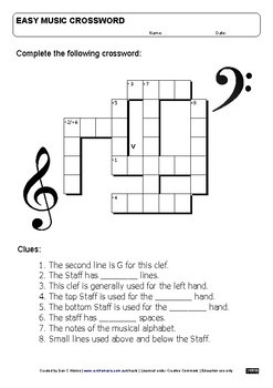 FREE Easy crossword - The Staff and Clefs