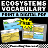 FREE Ecosystem Activities, Earth Science Review, Ecosystems Task Cards Games