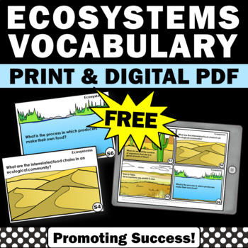 FREE Science Ecosystem Task Cards for Earth Science Activities