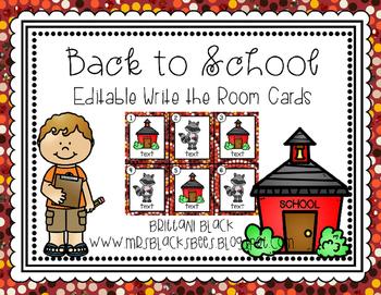 FREE~ Editable Back to School Write the Room