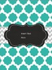 Chevron/Quatrefoil (Teal & Gray) Editable Binder Covers
