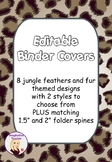 Editable Binder Covers - Jungle Feathers and Fur