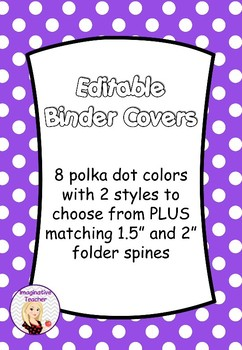 free editable binder covers polka dots by imaginative teacher tpt