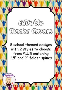 FREE Editable Binder Covers - School themed