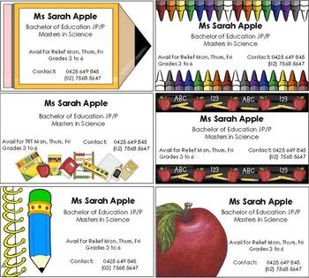 FREE Editable Business Cards for Substitute Teachers by