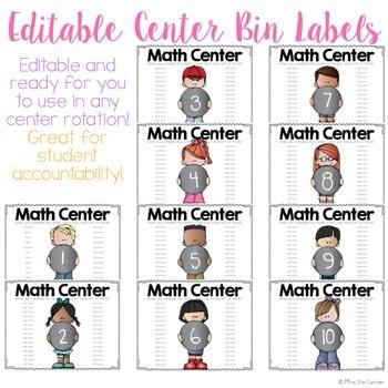 FREE Editable Center Bin Labels { Melonheadz Theme }