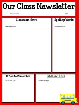 Free Editable Classroom Newsletter Template Power Point Tpt