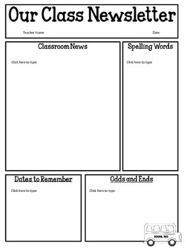 Editable Classroom Newsletter Template Geccetackletartsco - Free newsletter templates for teachers
