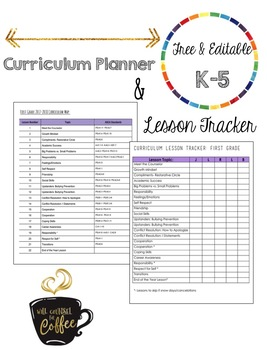 FREE Editable Curriculum Planning Outline and Tracker