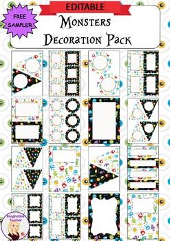 FREE Editable Decoration Mini Pack - Monsters
