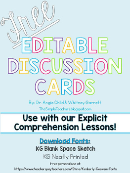 FREE Editable Discussion Cards