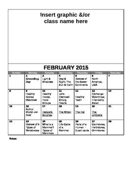 FREE Editable February Lesson Overview Calendar (Montessor