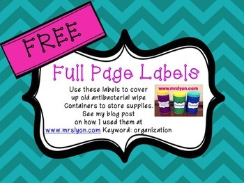 FREE Editable Full Sheet Labels in Colorful Chevron