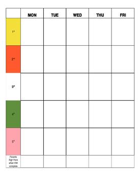 FREE Editable Homework Planner