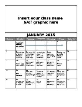 FREE Editable January Lesson Overview Calendar (Montessori, Early Childhood)
