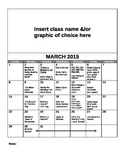 FREE Editable March Lesson Overview Calendar (Montessori,