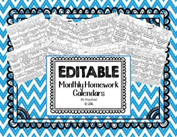 FREE Editable Monthly Homework Calendar - Sept Only
