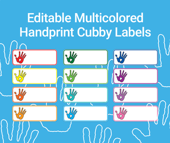 FREE Editable Multicolored Handprint Cubby Labels