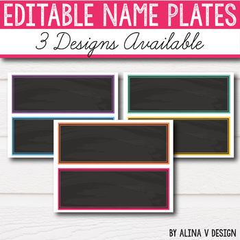 FREE Editable Name Plates-  Bright Classroom Decor