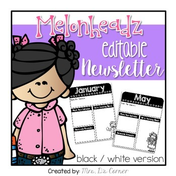 FREE Editable Newsletter { Melonheadz Theme  } in Black and White