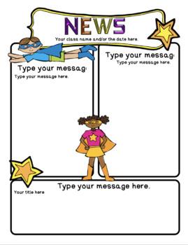 newsletter template editable superhero and ocean free by teacher tam