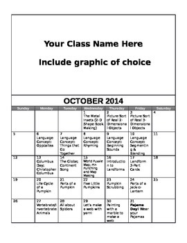 FREE Editable October Lesson Overview Calendar (Montessori, Early Childhood)