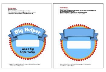 FREE!  Editable PDF Badges. Big Helper & Blanks Printable