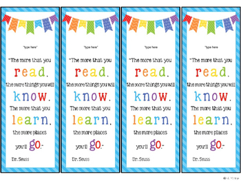Playful image intended for free editable printable bookmark templates