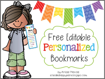 FREE Editable Personalized Bookmarks
