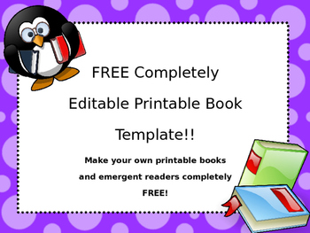 free editable printable book template by the cozy learning cottage