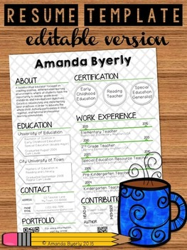 Free Editable Resume Template By Take Home Teacher Tpt