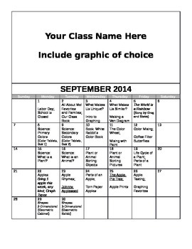 FREE Editable September Lesson Overview Calendar (Montessori, Early Childhood)