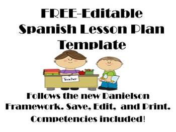 FREE Editable Spanish Lesson Plan Template-Danielson Framework