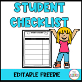 Student Checklist (FREE and EDITABLE)