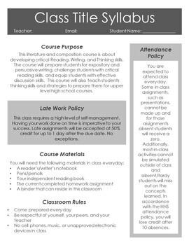 FREE Editable Syllabus for Secondary English Language Arts Courses
